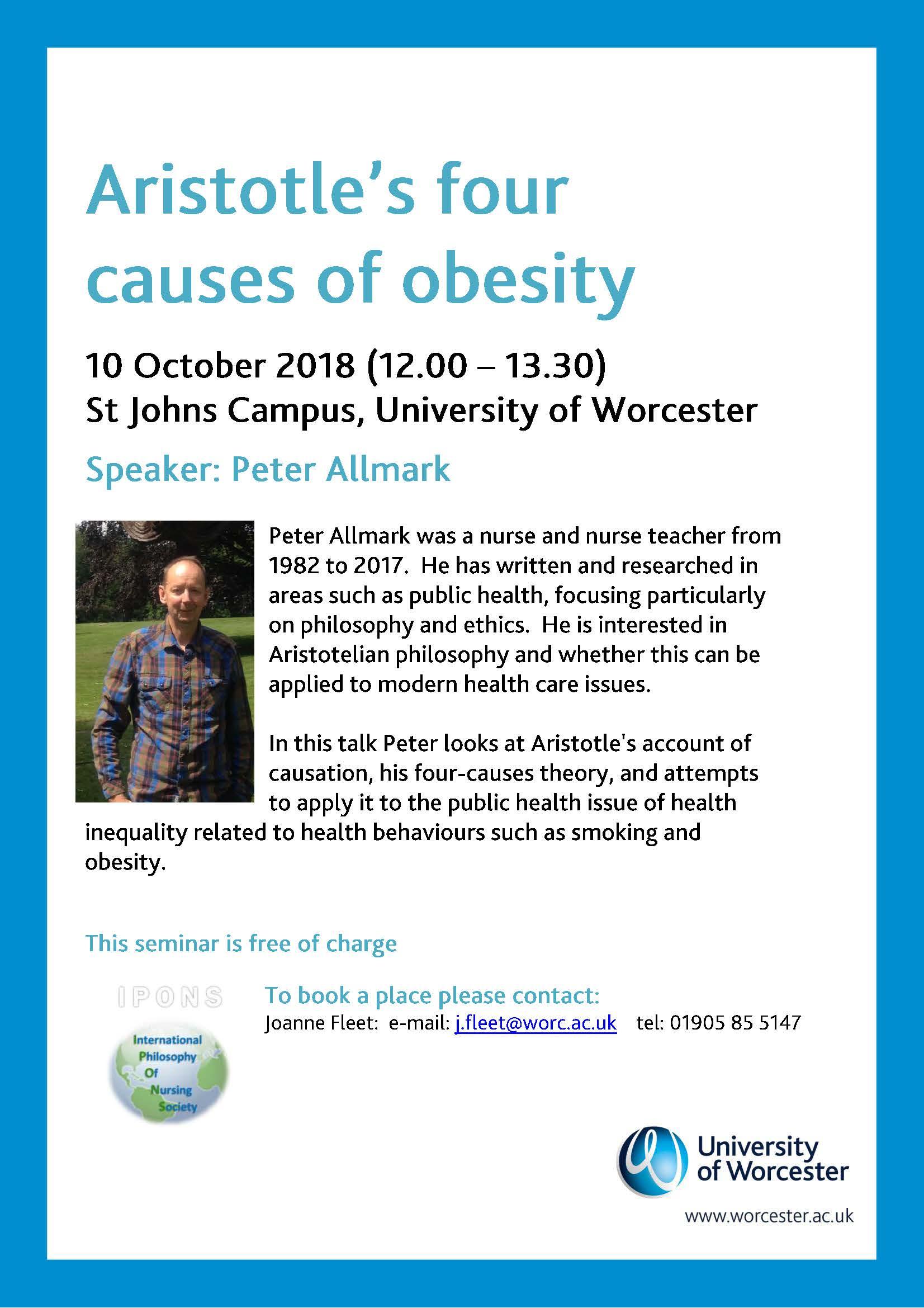 Health Seminar Aristotles Four Causes Of Obesity