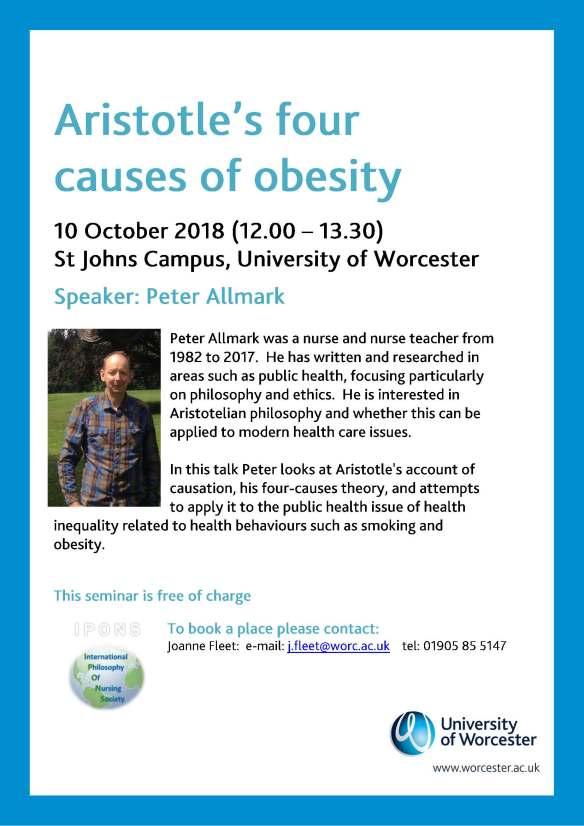 Peter Allmark seminar 10.10.18