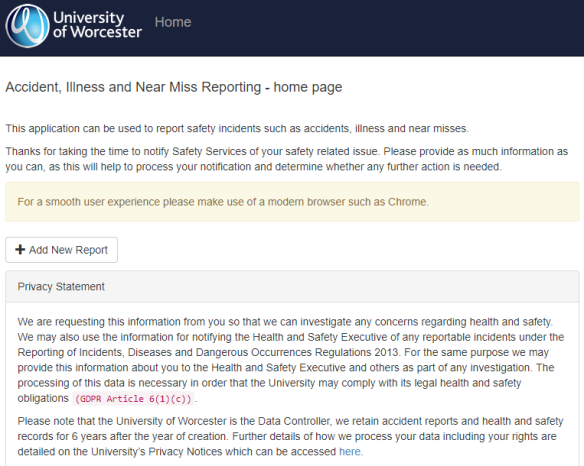 Online Incident Notification Portal | University of Worcester weekly