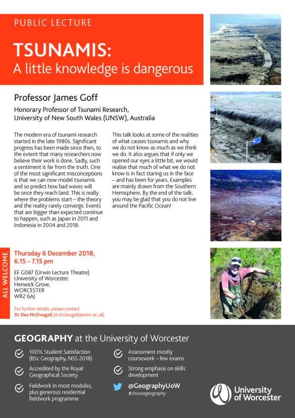 Tsunami lecture - Worcester Thurs 6 DEC 18