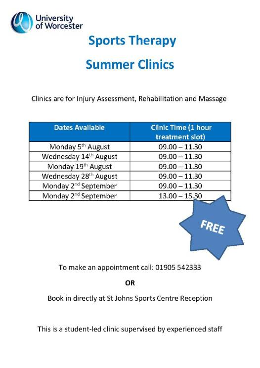 Sports Therapy Summer Clinic